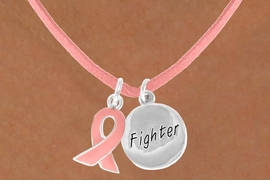 "<Br>                  LEAD & NICKEL FREE!!<Br>W13526N - PINK AWARENESS RIBBON<Br>       & ""FIGHTER"" CIRCLE ON A PINK<Br>   SUEDE NECKLACE FROM $5.25 TO $8.65"