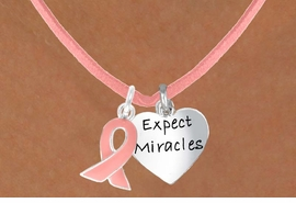 "<Br>                  LEAD & NICKEL FREE!!<Br>W13538N - PINK AWARENESS RIBBON<Br>   & ""EXPECT MIRACLES"" CIRCLE ON A PINK<Br>    SUEDE NECKLACE FROM $5.25 TO $8.65"