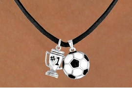 "<Br>                LEAD & NICKEL FREE!!<Br>W13539N - ""#1"" TROPHY & SOCCER<br>  BALL NECKLACE AS LOW AS $4.50"