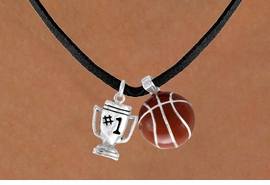 "<Br>      LEAD & NICKEL FREE!!<Br>W13540N - ""#1"" TROPHY &<br>   BASKETBALL NECKLACE<br>           AS LOW AS $4.50"