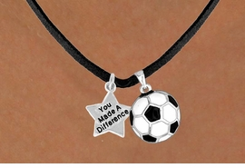 "<Br>                        LEAD & NICKEL FREE!!<Br> W13545N - ""YOU MADE A DIFFERENCE"" &<br>SOCCER BALL NECKLACE AS LOW AS $4.50"