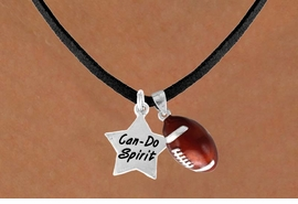 "<Br>        LEAD & NICKEL FREE!!<Br>W13556N - ""CAN-DO SPIRIT""<br>STAR & FOOTBALL NECKLACE<br>              AS LOW AS $4.50"