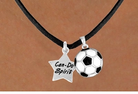 "<Br>           LEAD & NICKEL FREE!!<Br>    W13557N - ""CAN-DO SPIRIT""<br>STAR & SOCCER BALL NECKLACE<br>                AS LOW AS $4.50"