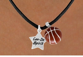 "<Br>          LEAD & NICKEL FREE!!<Br>   W13558N - ""CAN-DO SPIRIT""<br>STAR & BASKETBALL NECKLACE<br>                AS LOW AS $4.50"