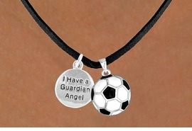 "<Br>           LEAD & NICKEL FREE!!<Br> W13563N - ""GUARDIAN ANGEL""<br>DISC & SOCCER BALL NECKLACE<br>                AS LOW AS $4.50"