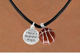 "<Br>           LEAD & NICKEL FREE!!<Br> W13564N - ""GUARDIAN ANGEL""<br> DISC & BASKETBALL NECKLACE<br>                 AS LOW AS $4.50"