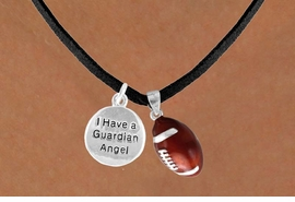 "<Br>           LEAD & NICKEL FREE!!<Br>W13566N - ""GUARDIAN ANGEL""<br>  DISC & FOOTBALL NECKLACE<br>               AS LOW AS $4.50"