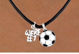 "<Br>         LEAD & NICKEL FREE!!<Br>W13569N - ""WE'RE #1"" CHARM<Br>     & SOCCER BALL NECKLACE<BR>               AS LOW AS $4.50"