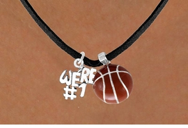 "<Br>         LEAD & NICKEL FREE!!<Br>W13570N - ""WE'RE #1"" CHARM<Br>     & BASKETBALL NECKLACE<BR>               AS LOW AS $4.50"
