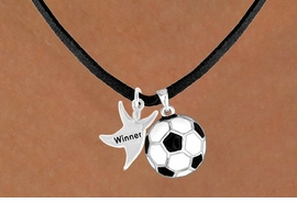"<Br>      LEAD & NICKEL FREE!!<Br>W13571N - ""WINNER"" MAN<Br>& SOCCER BALL NECKLACE<BR>           AS LOW AS $4.50"