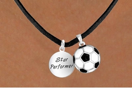 <Br>        LEAD & NICKEL FREE!!<Br>W13593N - STAR PERFORMER<br>   & SOCCER BALL NECKLACE<BR>             AS LOW AS $4.50