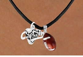 "<Br>    LEAD & NICKEL FREE!!<Br>W13598N - ""CAPTAIN"" &<br>    FOOTBALL NECKLACE<br>        AS LOW AS $4.50"