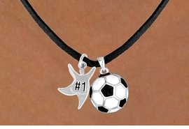 "<Br>      LEAD & NICKEL FREE!!<Br>W13601N - ""#1"" STAR MAN<br>& SOCCER BALL NECKLACE<br>           AS LOW AS $4.50"
