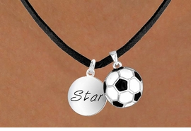 "<Br>     LEAD & NICKEL FREE!!<Br>W13617N - ""STAR"" DISC &<br>  SOCCER BALL NECKLACE<br>           AS LOW AS $4.50"