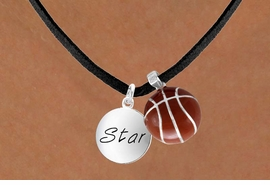 "<Br>      LEAD & NICKEL FREE!!<Br>W13618N - ""STAR"" DISC &<br>   BASKETBALL NECKLACE<br>           AS LOW AS $4.50"