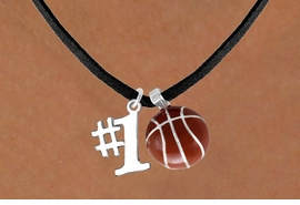 "<Br>     LEAD & NICKEL FREE!!<Br>  W13629N - ""#1"" CHARM<br>& BASKETBALL NECKLACE<br>           AS LOW AS $4.50"