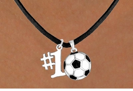 "<Br>     LEAD & NICKEL FREE!!<Br>  W13630N - ""#1"" CHARM<br>& SOCCER BALL NECKLACE<br>           AS LOW AS $4.50"