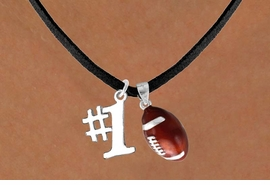 "<Br>  LEAD & NICKEL FREE!!<Br>W13631N - ""#1"" CHARM<br> & FOOTBALL NECKLACE<br>        AS LOW AS $4.50"