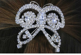 <Br>           LEAD & NICKEL FREE!!<BR>W14250HJ - GENUINE AUSTRIAN<br> CRYSTAL BUTTERFLY PONYTAIL<br>HOLDER FROM $12.38 TO $27.50
