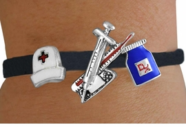<Br>               LEAD & NICKEL FREE!!<Br>   W14366B - NURSE THEME SUEDE<Br>LEATHER LOBSTER CLASP BRACELET<br>                     AS LOW AS $3.15