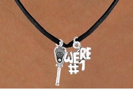 "<Br>                LEAD & NICKEL FREE!!<Br>      W14424N - LACROSSE STICK &<Br>""WE'RE #1"" BLACK SUEDE NECKLACE<BR>                    AS LOW AS $4.15"