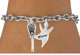 "<Br>          LEAD & NICKEL FREE!!<Br>W14425B - LACROSSE STICK &<Br>   ""WINNER"" CHAIN BRACELET<BR>                AS LOW AS $4.15"