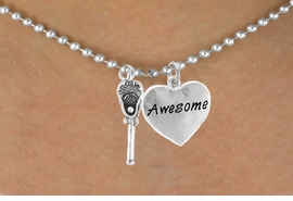 "<Br>                LEAD & NICKEL FREE!!<Br>      W14426N - LACROSSE STICK &<Br>""AWESOME"" BALL CHAIN NECKLACE<BR>                     AS LOW AS $4.15"
