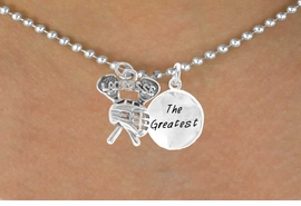 "<Br>               LEAD & NICKEL FREE!!<Br>W14430N - ""LACROSSE"" STICKS &<Br>      ""THE GREATEST"" BALL CHAIN<BR>        NECKLACE AS LOW AS $4.15"