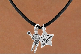 "<Br>               LEAD & NICKEL FREE!!<Br>     W14434N - LACROSSE PLAYER<Br>      & ""YOU MADE A DIFFERENCE""<BR>SUEDE NECKLACE AS LOW AS $4.15"