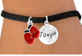 "<Br>            LEAD & NICKEL FREE!!<Br>  W14439B - BOXING GLOVES &<BR>""TOUGH"" DISC SUEDE BRACELET<BR>            FROM $5.25 TO $8.65"
