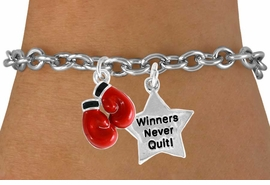 "<Br>           LEAD & NICKEL FREE!!<Br> W14440B - BOXING GLOVES &<BR> ""WINNERS NEVER QUIT"" CHAIN<BR>BRACELET FROM $5.25 TO $8.65"