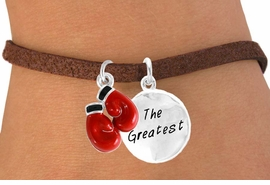 "<Br>              LEAD & NICKEL FREE!!<Br>     W14441B - BOXING GLOVES &<BR>""THE GREATEST"" SUEDE BRACELET<BR>              FROM $5.25 TO $8.65"