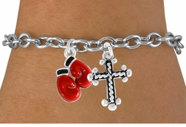 <Br>              LEAD & NICKEL FREE!!<Br>    W14446B - BOXING GLOVES &<BR>CROSS BRACELET AS LOW AS $4.15