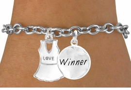 "<Br>              LEAD & NICKEL FREE!!<Br>W14456B - ""LOVE"" TENNIS DRESS<BR>    & ""WINNER"" CHAIN BRACELET<BR>                  AS LOW AS $4.15"