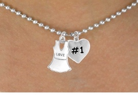 """<Br>              LEAD & NICKEL FREE!!<Br>W14457N - """"LOVE"""" TENNIS DRESS<Br>    & """"#1"""" BALL CHAIN NECKLACE<Br>                  AS LOW AS $4.15"""