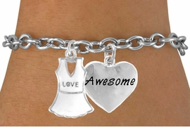 "<Br>                  LEAD & NICKEL FREE!!<Br>  W14458B - ""LOVE"" TENNIS DRESS &<BR>""AWESOME"" HEART CHARM BRACELET<Br>                       AS LOW AS $4.15"