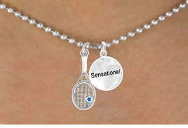 """<Br>          LEAD & NICKEL FREE!!<Br>W14467N - TENNIS RACKET &<BR> """"SENSATIONAL"""" BALL CHAIN<Br>   NECKLACE AS LOW AS $4.15"""