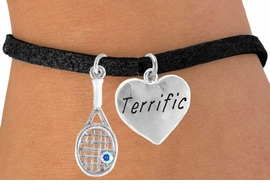 "<Br>          LEAD & NICKEL FREE!!<Br>    W14463B - TENNIS RACKET<BR>& ""TERRIFIC"" SUEDE BRACELET<Br>               AS LOW AS $4.15"