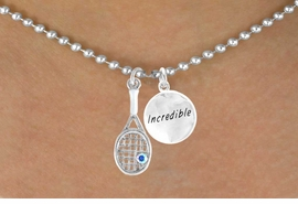 """<Br>        LEAD & NICKEL FREE!!<Br> W14465N - TENNIS RACKET<BR>& """"INCREDIBLE"""" BALL CHAIN<BR> NECKLACE AS LOW AS $4.15"""