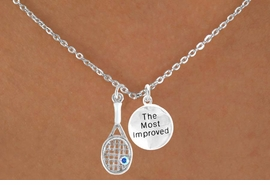 """<Br>           LEAD & NICKEL FREE!!<Br> W14466N - TENNIS RACKET &<BR>""""THE MOST IMPROVED"""" CHAIN<Br>   NECKLACE AS LOW AS $4.15"""