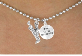 "<Br>            LEAD & NICKEL FREE!!<Br>W14475N - KARATE KICK & ""THE<BR>  MOST IMPROVED"" BALL CHAIN<Br>     NECKLACE AS LOW AS $4.15"