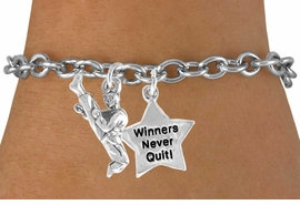 "<Br>          LEAD & NICKEL FREE!!<Br>    W14478B - KARATE KICK &<BR>""WINNERS NEVER QUIT"" CHAIN<BR>    BRACELET AS LOW AS $4.15"