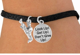 "<Br>      LEAD & NICKEL FREE!!<Br>W14479B - KARATE KICK &<BR>   ""DON'T GIVE UP!"" SUEDE<BR>BRACELET  AS LOW AS $4.15"