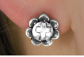 <Br>         LEAD & NICKEL FREE!!<Br>  W14493E - FLOWER & CROSS<Br>EARRINGS FROM $2.25 TO $5.00