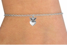 <Br>         LEAD & NICKEL FREE!!<BR>  W14508B - HEART & ANGEL<Br>CHILDREN'S CHAIN BRACELET<BR>         FROM $3.25 TO $7.50