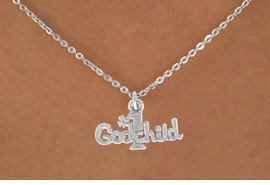 "<Br>         LEAD & NICKEL FREE!!<BR>   W14518N - ""#1 GODCHILD""<Br>CHILDREN'S CHAIN NECKLACE<BR>              AS LOW AS $3.55"