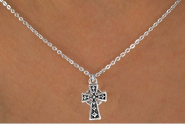 "<Br>             LEAD & NICKEL FREE!!<BR>  W14536N - SILVER TONE CROSS<Br>CHILDREN'S 12"" CHAIN NECKLACE<BR>               FROM $3.55 TO $7.50"