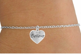 "<Br>        LEAD & NICKEL FREE!!<BR>W14539B - ""BELIEVE"" HEART<Br>CHILDREN'S CHAIN BRACELET<BR>          FROM $3.25 TO $7.50"
