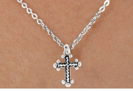 "<Br>              LEAD & NICKEL FREE!!<BR>   W14602N - CABLE CROSS ON A<Br>CHILDREN'S 12"" CHAIN NECKLACE<BR>               FROM $3.55 TO $7.50"
