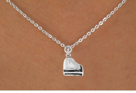 "<Br>            LEAD & NICKEL FREE!!<BR>          W14628N - PIANO ON A<Br>CHILDREN'S 12"" CHAIN NECKLACE<BR>                  AS LOW AS $3.55"